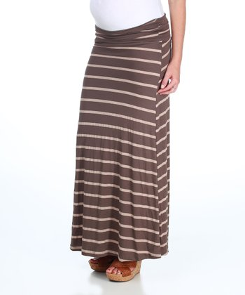 Mocha & Beige Stripe Under-Belly Maternity Maxi Skirt - Women