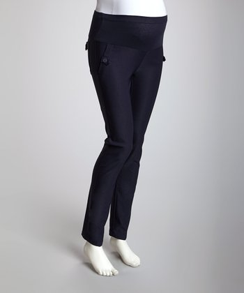 Navy Mid-Belly Maternity Pants - Plus