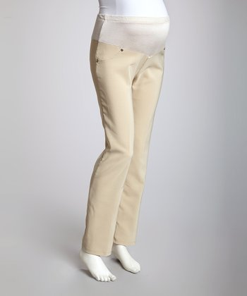 Light Khaki Mid-Belly Maternity Pants - Women