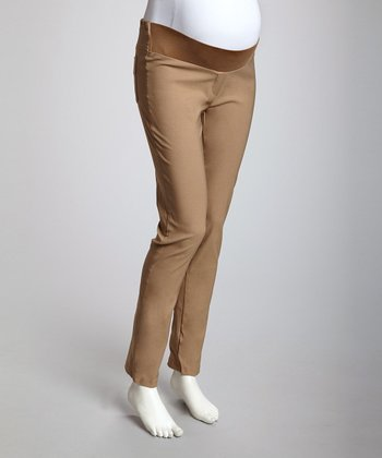 Dark Khaki Under-Belly Maternity Skinny Pants - Women