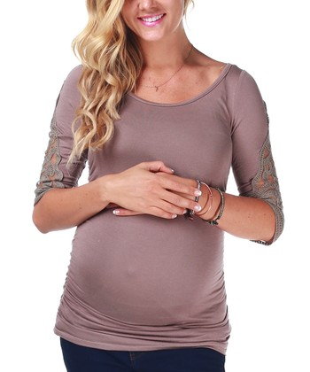 Mocha Crocheted Maternity Three-Quarter Sleeve Top