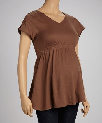 Brown Maternity Peplum Top