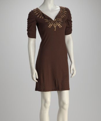 Mocha Embellished Dress - Women