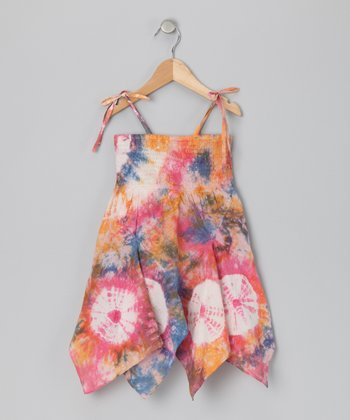 Peach Mix Tie-Dye Handkerchief-Hem Dress - Toddler & Girls