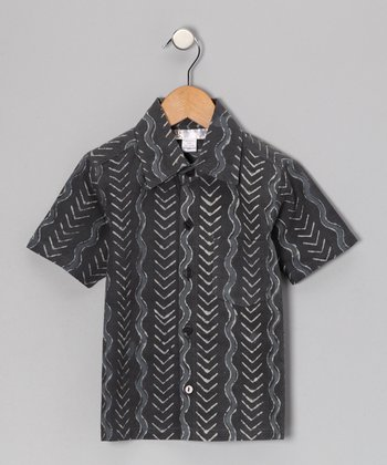 Charcoal Wave Button-Up - Toddler & Kids