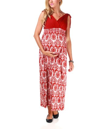 Rust Chandelier Maternity Maxi Dress - Women