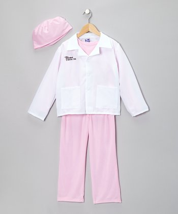 Pink & White Medical Doctor Dress-Up Set - Girls