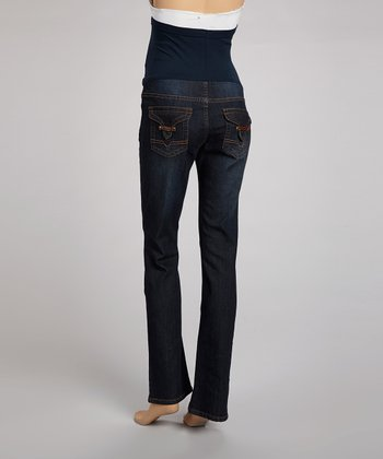 Dark Wash Pocket Over-Belly Maternity Jeans - Women