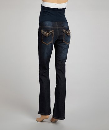 Dark Wash Over-Belly Maternity Boot-Cut Jeans