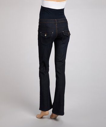 Dark Yellow-Stitch Over-Belly Maternity Boot Cut Jeans - Women