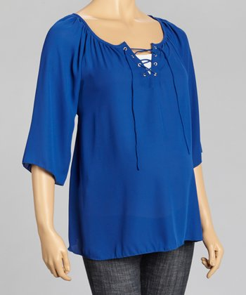 Blue Sheer Maternity Top - Women