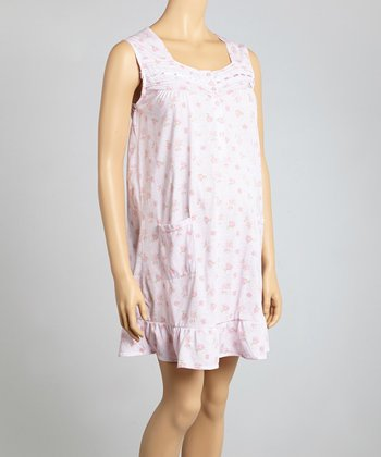Pink Floral Maternity Chemise Nightgown - Women & Plus