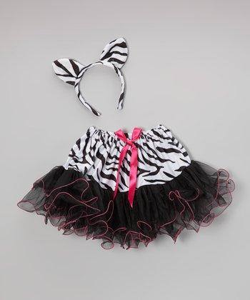 Black & Pink Zebra Skirt & Headband - Girls