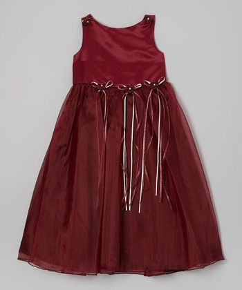 Burgundy Satin Organza Dress - Infant, Toddler & Girls