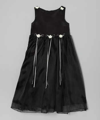 Black Satin Organza Dress - Infant, Toddler & Girls
