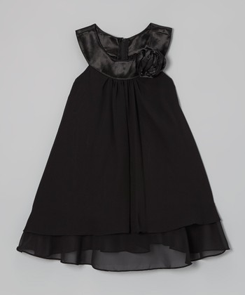 Black Rose Yoke Dress - Toddler & Girls