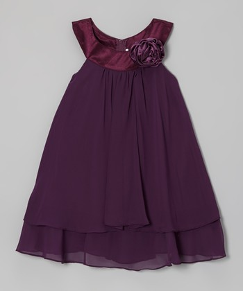 Eggplant Rose Yoke Dress - Girls