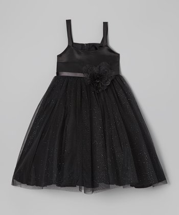 Black Shimmer Tie-Back Dress - Toddler & Girls