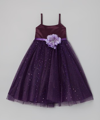 Eggplant Shimmer Tie-Back Dress - Toddler & Girls