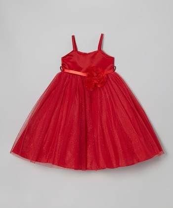 Red Shimmer Tie-Back Dress - Toddler & Girls