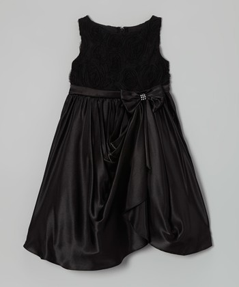 Black Rosette Gathered Dress - Toddler & Girls