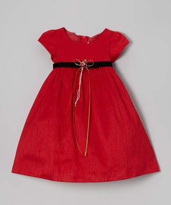 Red Cap-Sleeve A-Line Dress - Infant, Toddler & Girls
