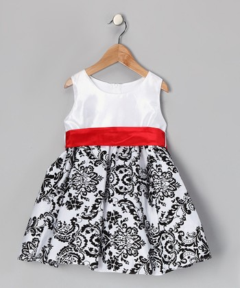 Red & Black Damask Velvet Dress - Infant, Toddler & Girls