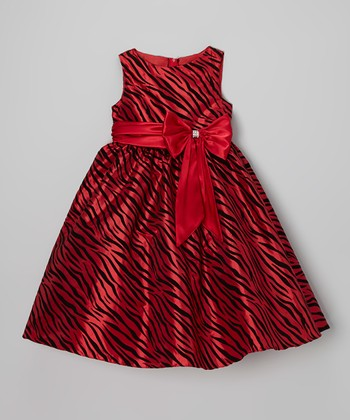 Red Zebra Bow A-Line Dress - Toddler & Girls