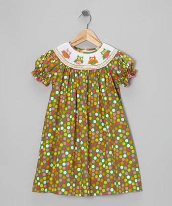 Green Owl Polka Dot Bishop Dress - Infant, Toddler & Girls