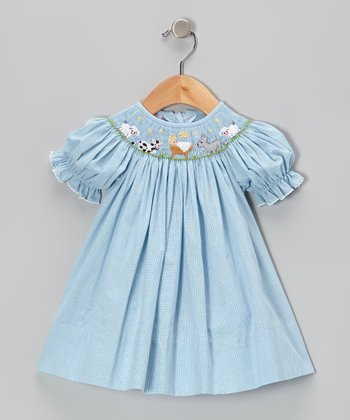 Light Blue Manger Gingham Bishop Dress - Infant & Toddler