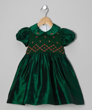 Green Ashley Smocked Silk Dress - Toddler & Girls