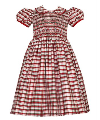 Red & Ivory Angelina Plaid Silk Dress - Toddler & Girls