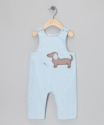Light Blue Puppy Dog Corduroy Overalls - Infant