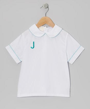 White & Turquoise Initial Button-Up - Toddler