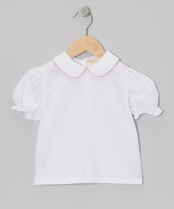 White & Red Gingham Blouse - Infant, Toddler & Girls