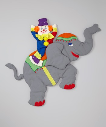 Gray & Orange Circus Clown Wall Hanging