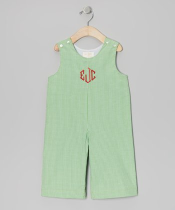 Green Gingham Monogram Overalls - Infant & Toddler