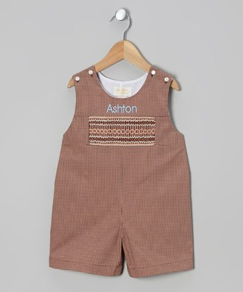 Brown Gingham Personalized Shortalls - Infant & Toddler