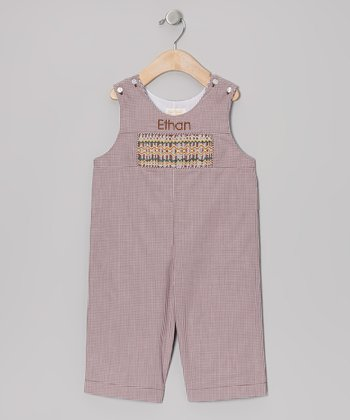 Brown Gingham Personalized Overalls - Infant