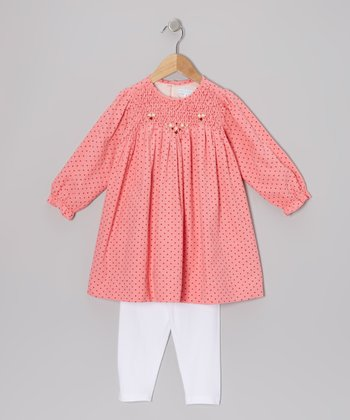 Pink Polka Dot Corduroy Tunic & Leggings - Infant & Toddler