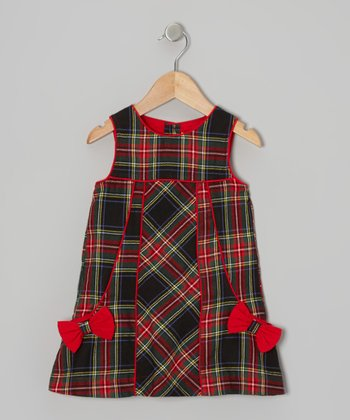 Red & Green Bow Plaid Dress - Infant & Toddler