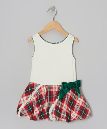 Red & Green Plaid Bubble Dress - Toddler & Girls