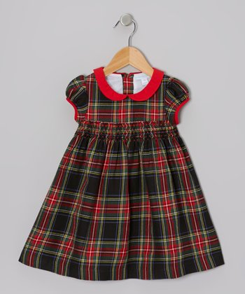 Red & Green Shirred Plaid Dress - Infant, Toddler & Girls