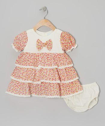 Orange & Ivory Floral Bow Tie Dress & Diaper Cover - Infant