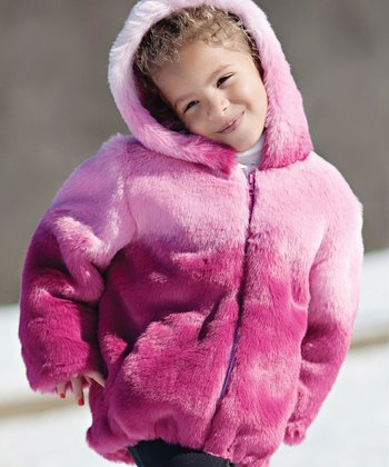 Pink Ombré Hooded Coat - Toddler & Girls