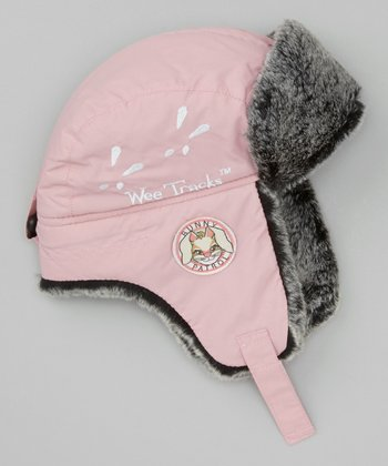 Pink & Gray Bunny Trapper Hat