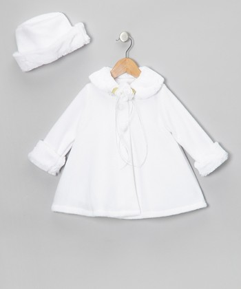 White Flower Faux Fur Swing Coat & Hat - Infant