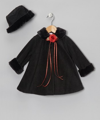 Black Fleece Coat & Hat - Infant