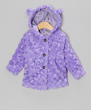 Purple Minky Rosette Faux Fur Coat - Infant