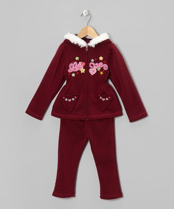 Maroon Love Zip-Up Hoodie & Pants - Toddler & Girls